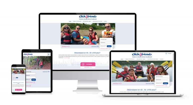 Een website voor Click4friends in het kader van een cross mediaal ledenwervingsplan
